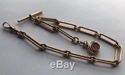Antique Solid 9ct 9k Solid Gold Paperclip Link Albert Watch Chain Swivel Fob 21g