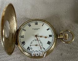 Antique Solid 9ct Gold Hallmarked Benson Half Hunter Pocket Watch. Original Box