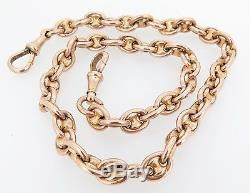 Antique Solid 9ct Rose Gold 40cm Pocket Watch Chain 56.2 grams