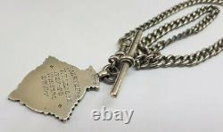 Antique Solid Silver Albert Pocket Watch Chain With Fob 28.1 G