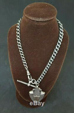 Antique Solid Silver Albert Pocket Watch Chain With Fob 47.3 G