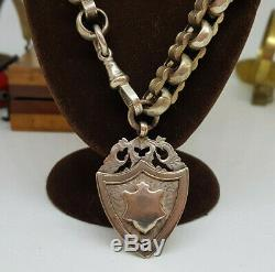 Antique Solid Silver Double Albert Pocket Watch Chain With Fob 67 G