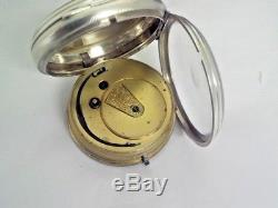 Antique Solid Silver Face And Case English Fusee Pocket Watch 1874 Stunning