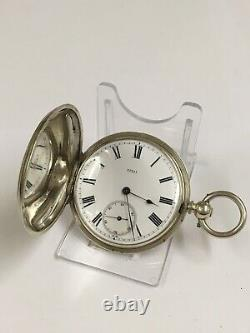 Antique Solid Silver Full Hunter Pocket Watch GWO PLZ LOOK