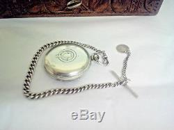 Antique Solid Silver Fusee Pocket Watch Silver Face 1876 & Albert Chain & Fob