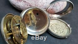 Antique Solid Silver Gentleman's Verge Fusee Pair Case Pocket Watch Not Work
