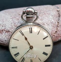 Antique Solid Silver Gentleman's Verge Fusee Pocket Watch