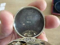Antique Solid Silver Gents Pocket Watch In Pocket Watch Box / Case Working