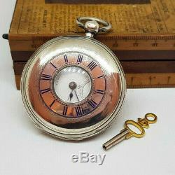 Antique Solid Silver Half-hunter Fusee Pocket Watch With Key