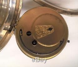 Antique Solid Silver Large Fusee Pocket Watch Improved Patent 1895