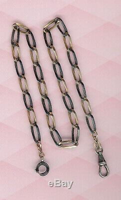 Antique Solid Silver Niello And Vermeil Gold Pocket Watch Chain Seal 800
