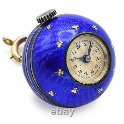 Antique Sterling Silver Blue Enamel Guilloche Ball Pendant Watch Abra Swiss Move