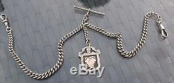 Antique Sterling Silver Double Albert Pocket Watch Chain & Fob