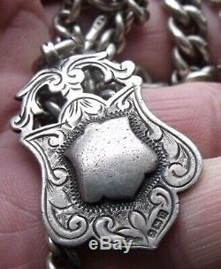 Antique Sterling Silver Graduating Link Single Albert Pocket Watch Chain & Fob