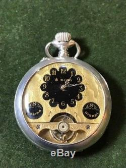 Antique Sterling Silver Hebdomas 8 Days With Enamel Pocket Watch