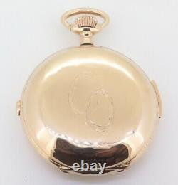 Antique Swiss 53.5mm Chronograph Quarter Repeater 14K Gold Pocket Watch