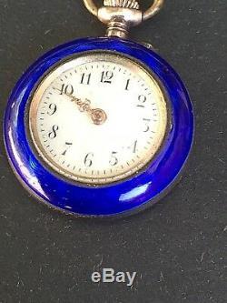 Antique Swiss 800 Silver Cobalt Blue Guilloche Enamel Lapel Watch