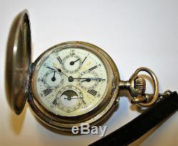 Antique Swiss Ancre Calendar Captains Pocket Watch 1920s 15 Jewels Working