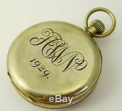 Antique Swiss Art Deco Field & Son Aylesbury Mechanical Pure Nickle Pocket Watch