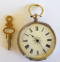 Antique Swiss Hallmarked Silver Pocket Watch With Blue Enamel Chapter Ring