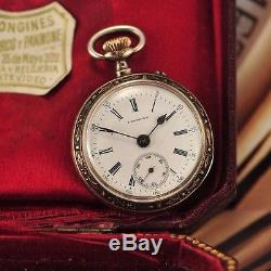 Antique Swiss Longines Chatelain Pocket Watch 0.800 Silver Case with Enamel Back