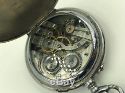 Antique Swiss Moonphase Calendar Pocket Watch Gun Metal Open Face Acier Garanti