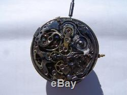 Antique Swiss One Minute Repeater Cronograph and Calendar Pocket Watch Movement