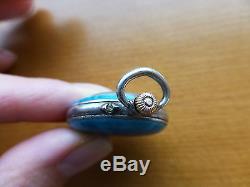 Antique Swiss Saca watch 15 jewel 800 silver enamel pocket Argent fob pendant