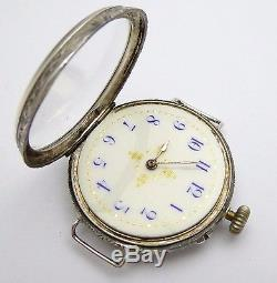 Antique Swiss Silver Cased Pocket Watch Wrist Watch Converted Needs Work LAYBY