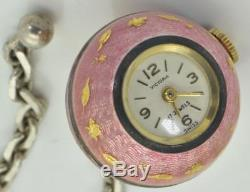 Antique Swiss Victoria ladies silver&guilloche enamel fob ball watch. Rare