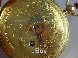 Antique Swiss made repeater key wind cylinder pocket watch. 18k gold, 48.5mm