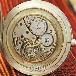 Antique Tavannes 0,935 Pure Silver Enamel Guilloche Horse Motif Pocket Watch