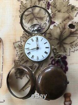 Antique Verge Fusee Pair Cased Pocket Watch Tho. Bowles Norwich 1760's Working