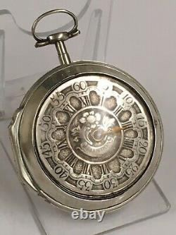 Antique Verge Fusee Pocket Watch Champleve Dial GOOD BALANCE Spares Or Repair