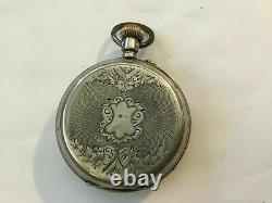 Antique Very Rare Swiss Moon Phase Double Calendar Day Date Pocket Watch Works
