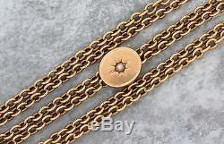 Antique Victorian 1880s Estate 14K 585 Yellow Gold Pocket Watch Fob Chain