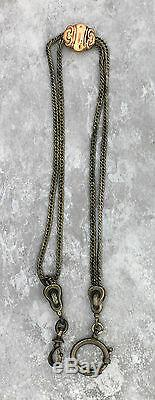 Antique Victorian 1880s Estate Sterling Silver 14K Gold Pocket Watch Fob Chain