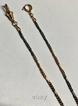 Antique Victorian 2 Tone Solid 10K Yellow Gold & Sterling Pocket Watch Fob Chain