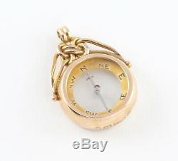 Antique Victorian 9Ct Gold Double Sided Compass Fob / Pendant c 1901