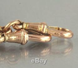 Antique Victorian 9Ct Gold Fancy Link Double Albert Watch Chain 25.6g