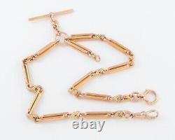 Antique Victorian 9Ct Rose Gold Trombone Link Double Albert Watch Chain 16'
