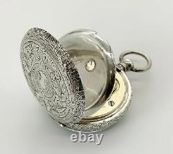 Antique Victorian Brandt & Hoffman 37mm 935 Sterling Silver Swiss Pocket Watch