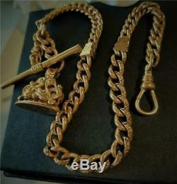 Antique Victorian C 1890 Gold Gf Wax Seal Fob T/bar Pocket Watch Chain 42 Grams