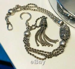 Antique Victorian Silver Pocket Watch Chain / Albertina Rare Collectable 1880s