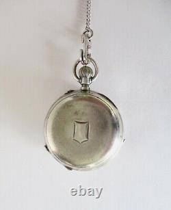 Antique Victorian Silver Pocket Watch Shaker Locket With Antique 26 Chain