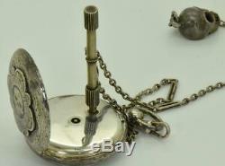 Antique Victorian ornate silver&black enamel MEMENTO MORI SKULL watch&chain. Box