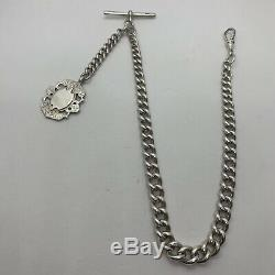 Antique Victorian sterling silver signed Albert pocket watch chain shield fob