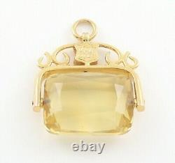 Antique / Vintage 9Ct Gold And Citrine Swivel / Spinner Fob / Pendant