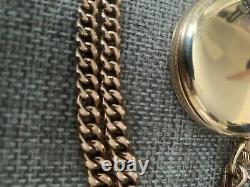Antique Vintage 9ct Solid Gold Swiss Pocket Watch Benson With A Solid Gold Chain