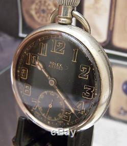 Antique Vintage Ww2 Military Rolex Black Dial Pocket Watch Serviced Matching Nos